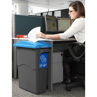 מיכל איסוף נייר - 70 ליטר מכסה כחול